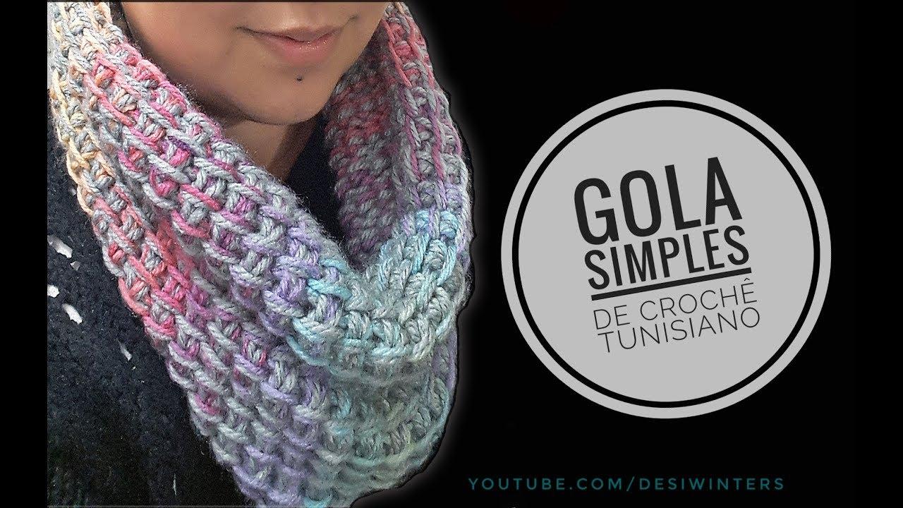 411a24415b Gola Simples de  crochê Tunisiano - Artes da Desi - YouTube