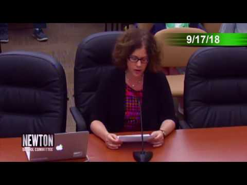 Leah Jacobson Challenges the Newton School Committee (September 17, 2018)