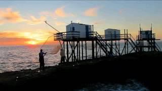 Carrelets et coucher de soleil à Saint-Palais-sur-Mer, 25 octobre 2014