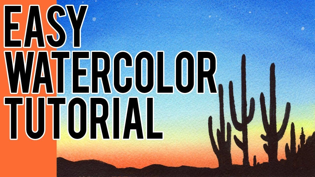 Watercolor Painting Ideas For Beginners Desert Sunset Easy Tutorial Youtube