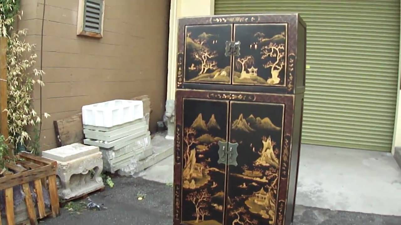 Chinese Black Lacquer Golden Scene Stack Cabinet S1495m