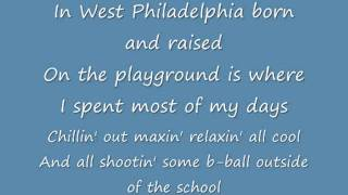 FRESH PRINCE OF BELL-AIR SONG LYRICS