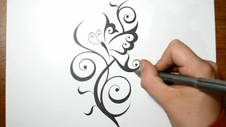 Creating a Cool Butterfly Tattoo Design with a Swirly Stem