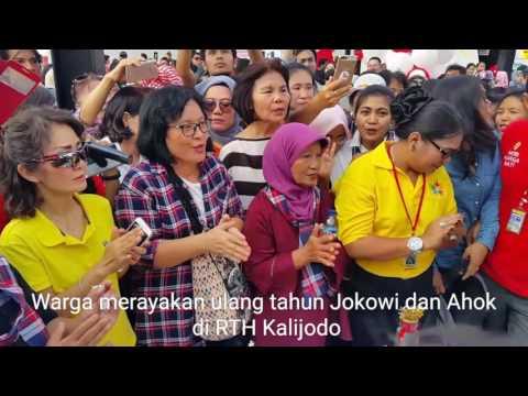 Relawan Pendukung Rayakan Ulang Tahun Jokowi dan Ahok di RTH Kalijodo