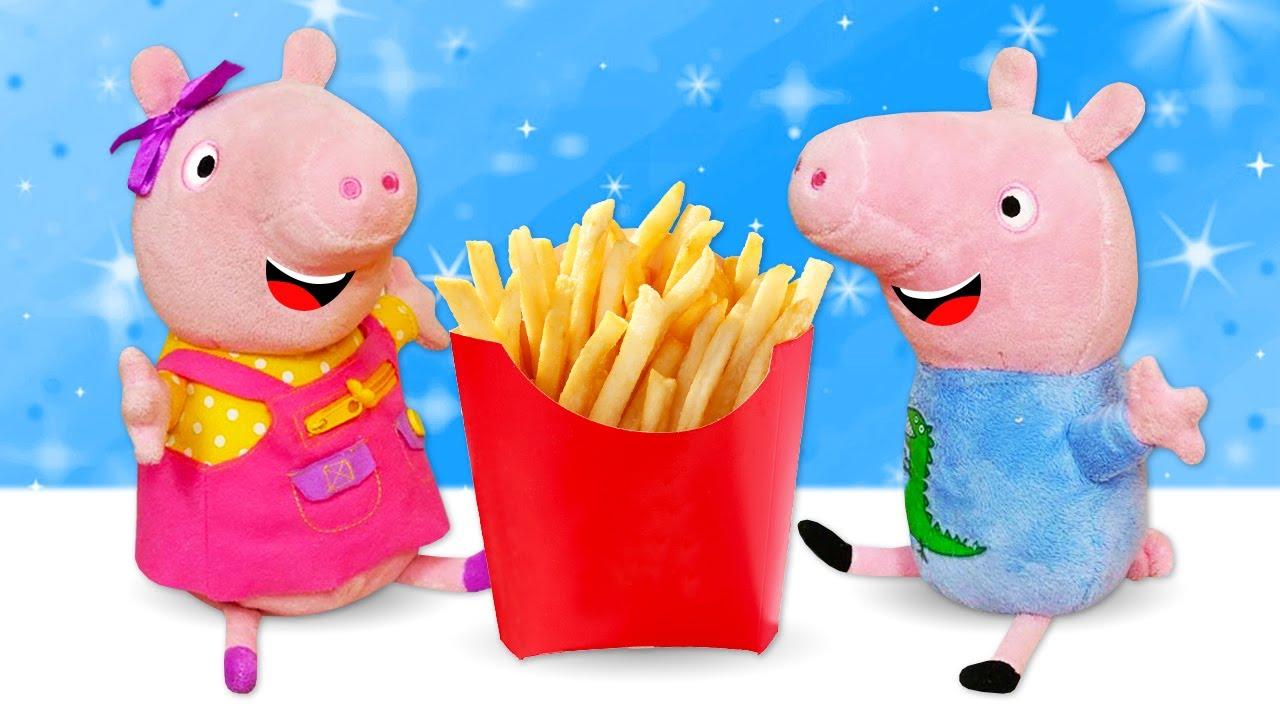 Peppa y George hacen patatas fritas. Juegos de cocina. Recetas para niños