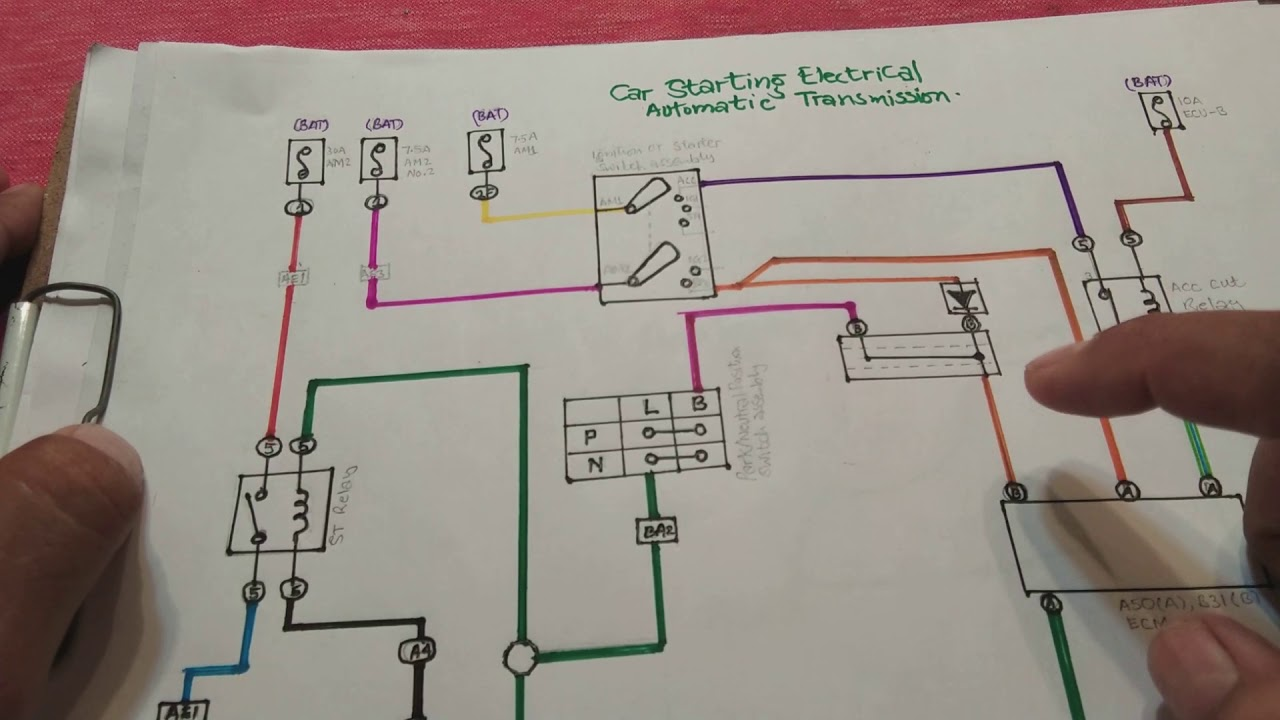Car starting circuit wiring explained. car electrical repair. Ignition on
