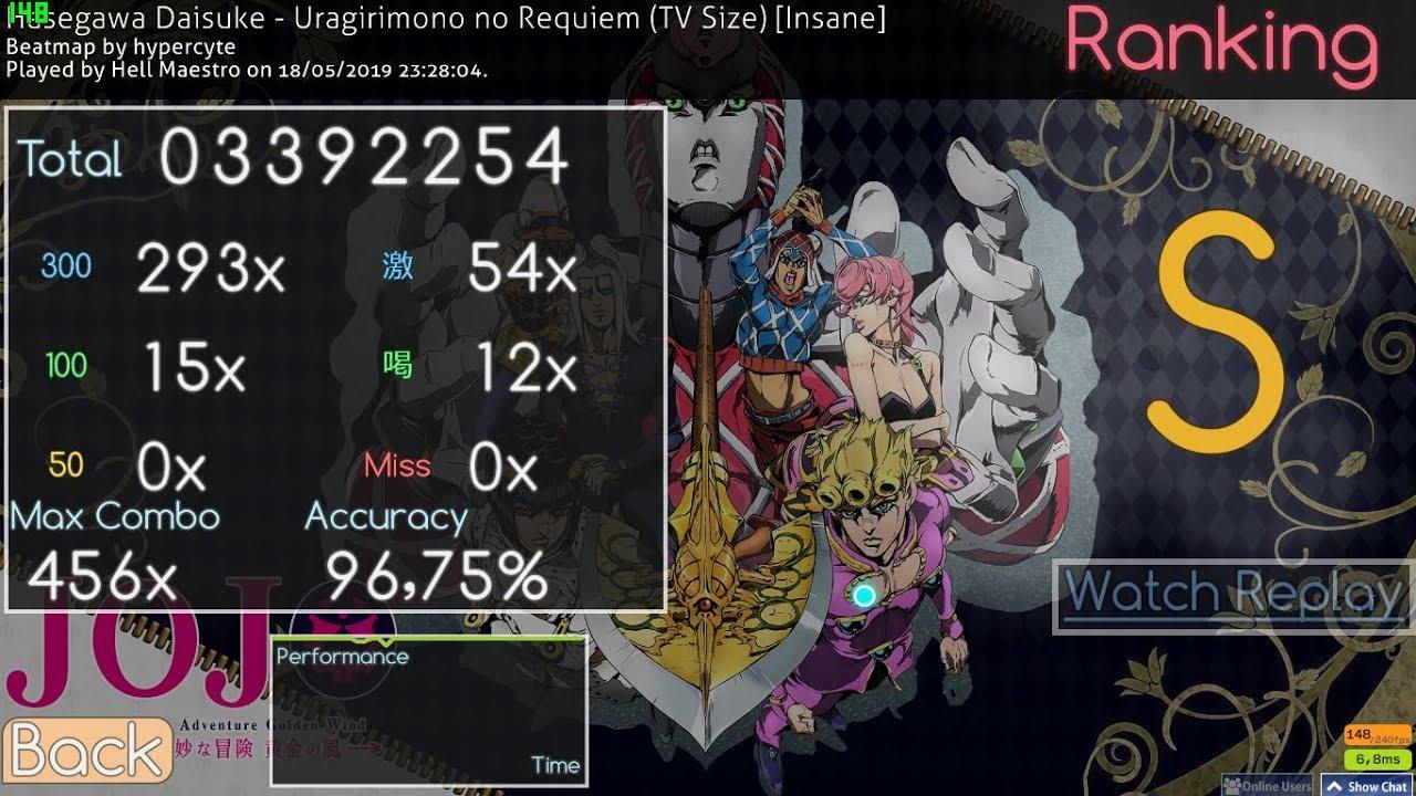 Osu! Uragirimono no Requiem (TV Size) Hasegawa Daisuke [Insane] S 96 75%  89pp