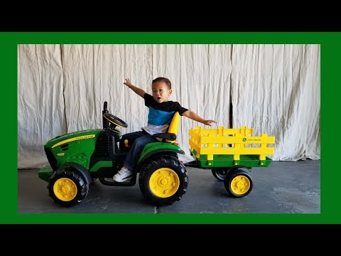 Toddler Unboxing John Deere Ground Force Tractor 12 Volt Ride On by Peg Pergo