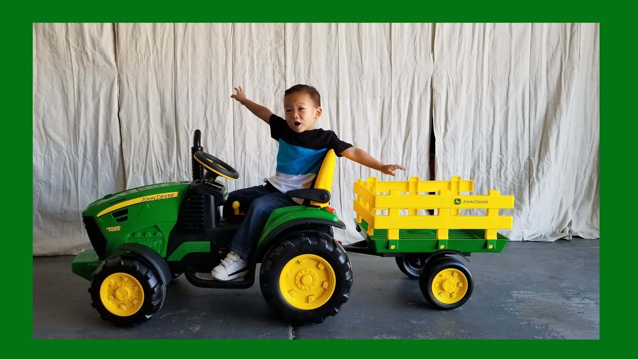 Toddler Unboxing John Deere Ground Force Tractor 12 Volt Ride On