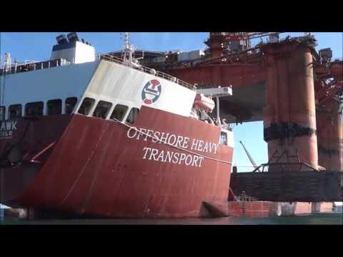Transocean Winner oil rig loaded on deck of the Hawk in the Western Isles