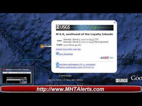 Earthquake Alert 6.6 Southeast of the Loyalty Islands
