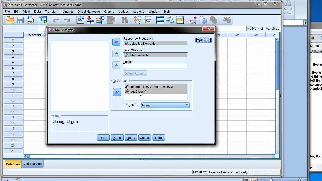 Logit and probit in SPSS and SAS