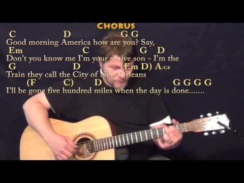 The City of New Orleans (Arlo Guthrie) Fingerstyle Guitar Cover Lesson with Chords/Lyrics