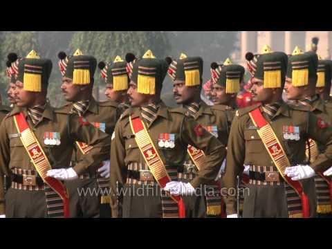 Eyes right command during Changing of the Guard at Rashtrapati Bhavan