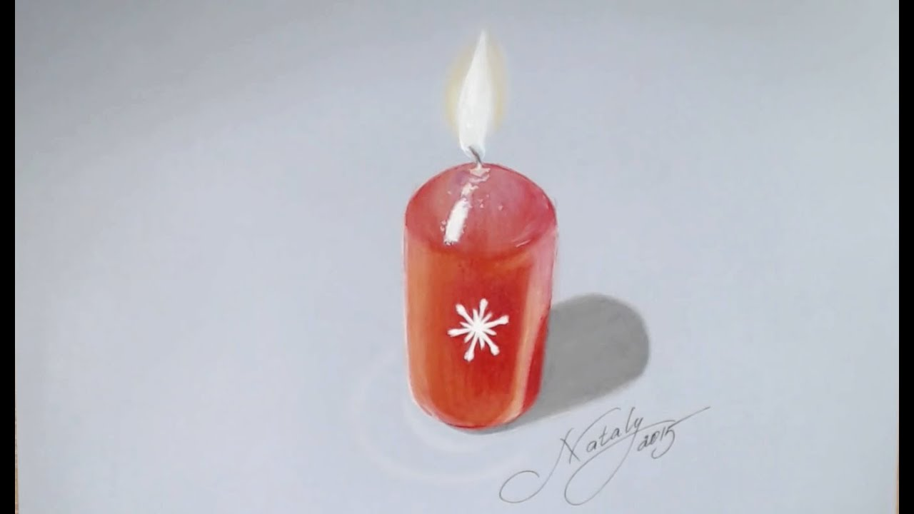 drawing a christmas candle hyperrealistic art youtube