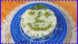Салат из вареной рыбы с рисом и яйцом