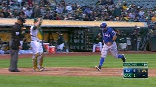 TEX@OAK: Rangers plate seventh run with a walk