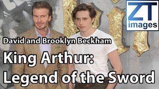 David and Brooklyn Beckham at film premiere of 'King Arthur: Legend of the Sword' London, UK