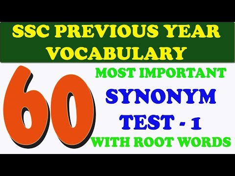 MOST IMPORTANT SYNONYMS FOR SSC PART - 1
