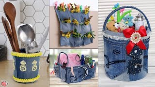 5 Useful Old Jeans Reuse Craft Ideas !!! DIY Handmade Things