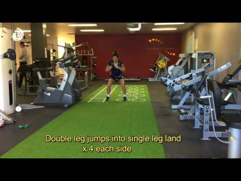 FOOTBALL PREHAB DOUBLE LEG JUMPS INTO SINGLE LAND