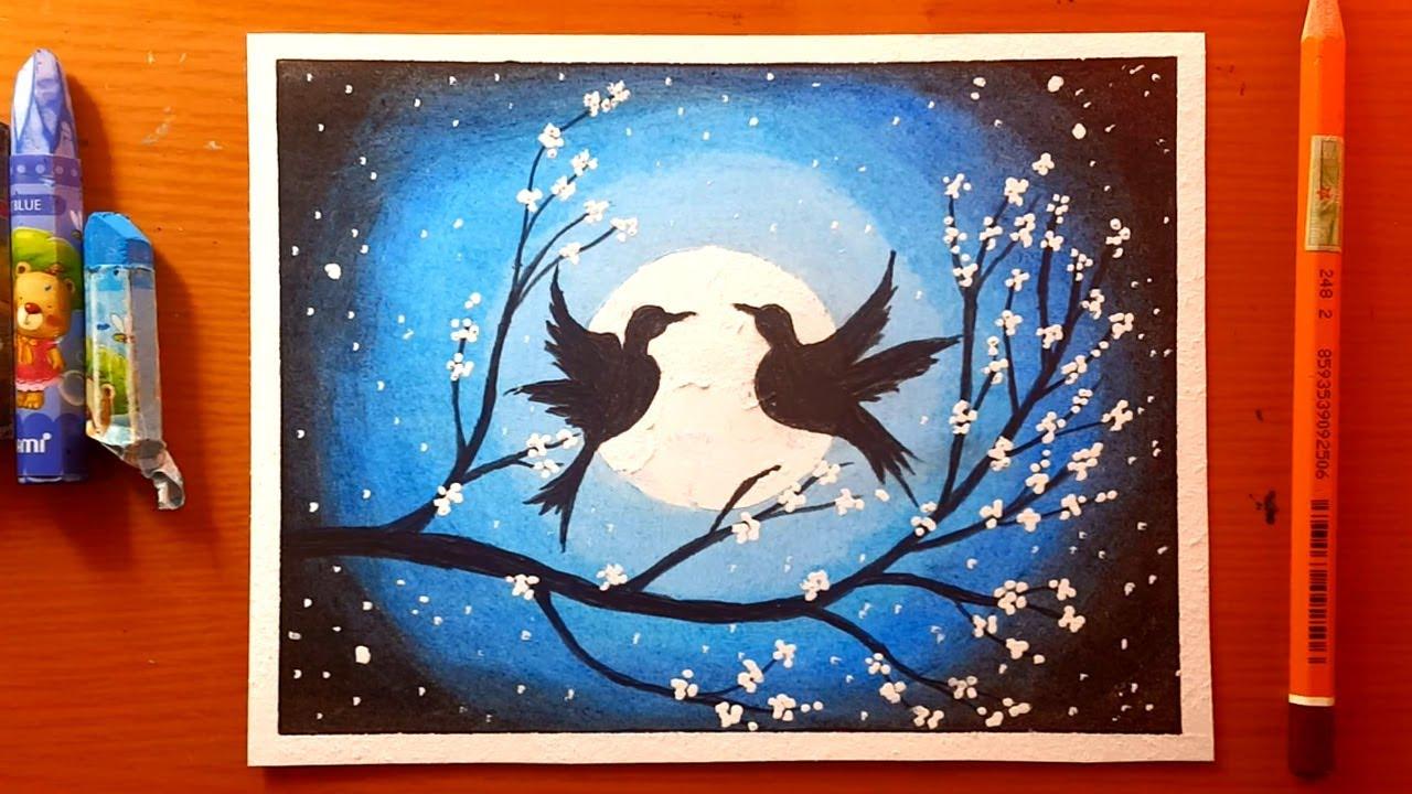 Disegni di paesaggi di uccelli innamorati con pastelli morbidi - Love Birds Drawing for Beginners