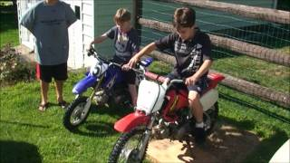 Surprised the kids with their first dirt bikes, with help from Loki the Samoyed.