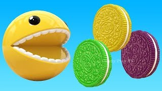Learn Colors with 3D Pacman and 3D Cookies Like Oreo for Kids | 3d Animation for Children