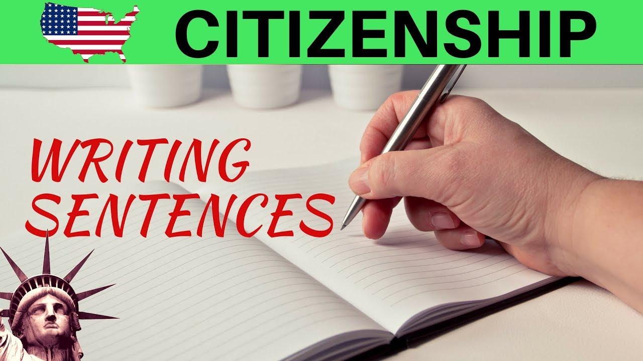 US CITIZENSHIP TEST: PRACTICE WRITING SENTENCES - YouTube