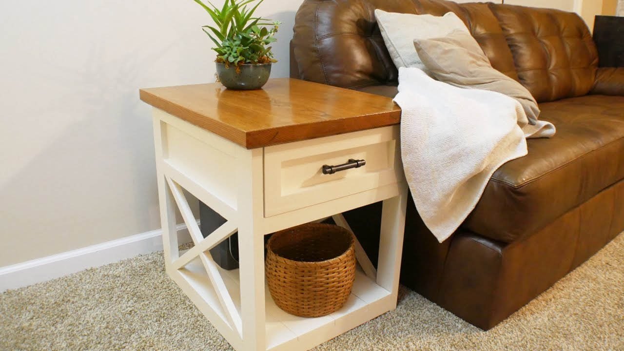 How To Make A Farmhouse Side Table With A Shaker Full Extension Drawer Youtube