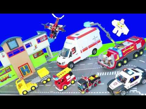 playmobil-feuerwehr-&-polizei,-lego-city-truck,-krankenwagen,-lego-duplo-kinderfilm
