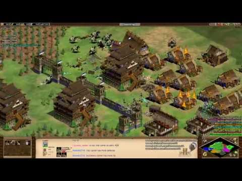 Aoe2 HD: 4v4 Arena (Mongols, Defending Against Pressure)