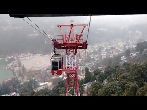 Aerial view of Nainital Lake and city from rope way.