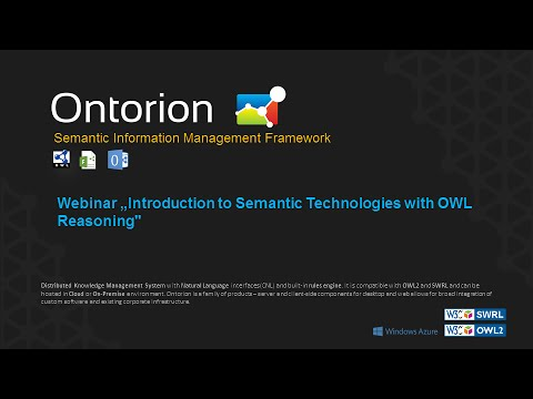 "Webinar: ""Introduction to Semantic Technologies with OWL Reasoning"""