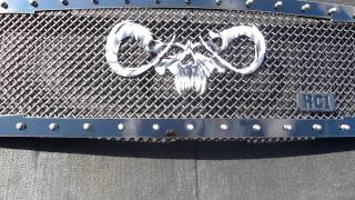 Sinister Goat Skull Custom Machined Airbrushed Logo Royalty Core Truck Grille