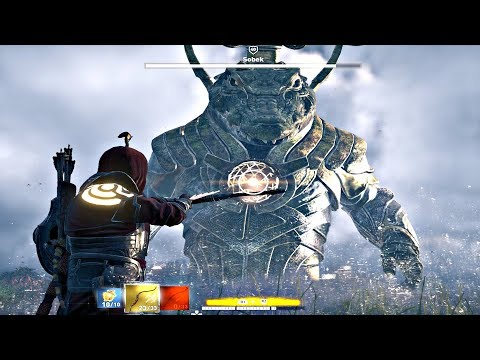 Assassin's Creed Origins - SOBEK God Max Level Boss Fight HARD Difficulty TRIAL OF GOD