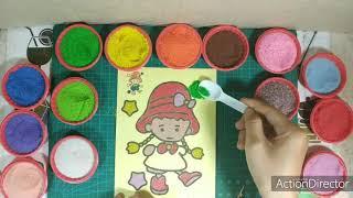 Đồ chơi trẻ em - Tô màu tranh cát Bé gái xinh xinh - Colored sand painting Pretty girl