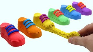 Learn Colors Kinetic Sand VS Mad Mattr Rainbow Shoes Surprise Toys How To Make For Kids