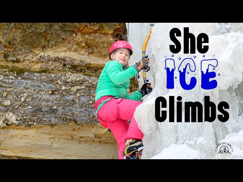ice-climbing-kid:-her-first-time-with-an-ice-axe---climbing-&-snowshoeing-in-the-upper-peninsula