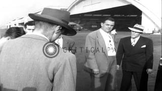 Douglas Fairbanks Jr. and Howard Hughes in Washington DC for HUAC hearings HD Stock Footage
