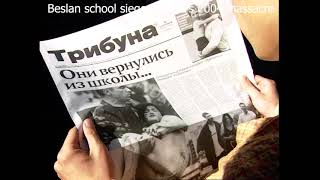 Newspaper Articles On Beslan School Siege 2004 Massacre. Moscow. Russians Reading About The Tragedy