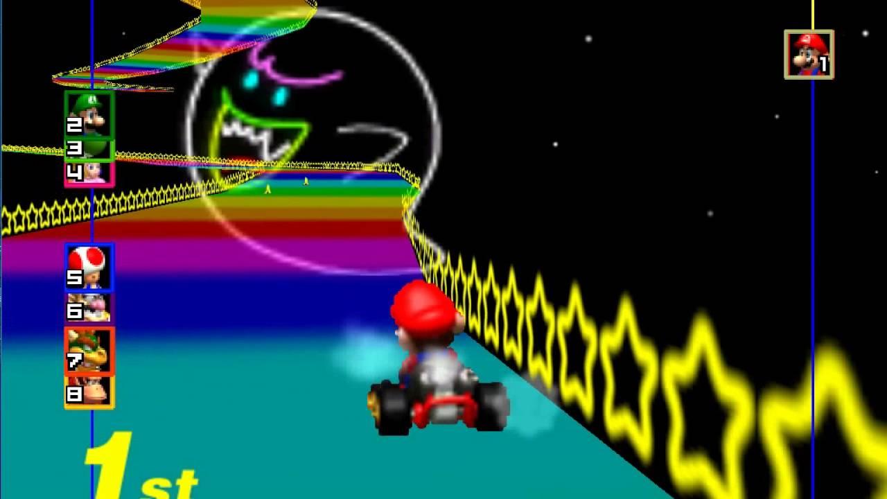 Mario Kart 64 Rainbow Road Shortcut Full Race All 3 Laps Youtube