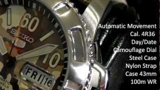 2S Time: SEIKO SRP221K2 Camouflage Military Khaki Dial Automatic Watch Cal.4R36