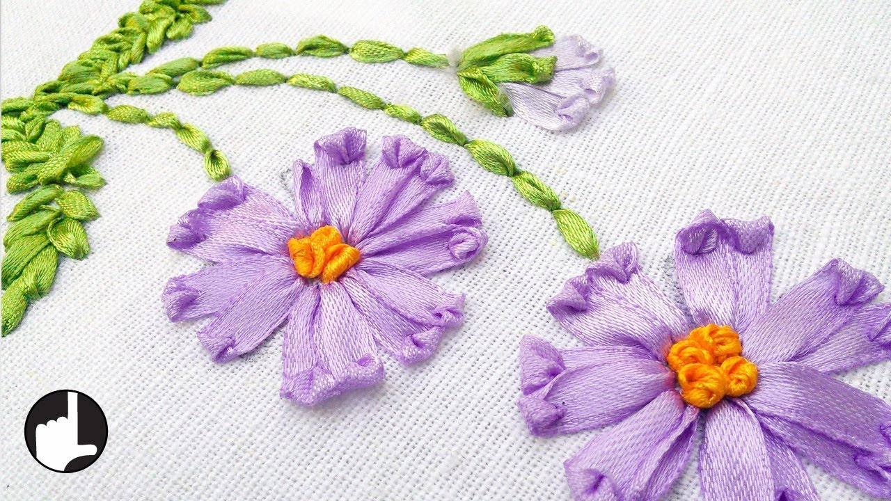Bed sheet designs hand embroidery - How To Make Ribbon Embroidery Design By Hand Handiworks 36 Youtube