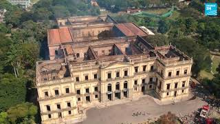 Aerial view shows Brazil's National Museum destroyed by fire