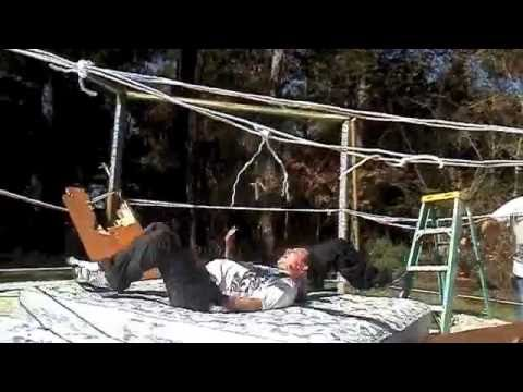 Our 6 sided backyard wrestling ring! - YouTube