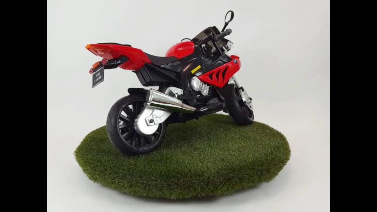 kinder accu motor bmw s1000rr 12v rood rubber banden - youtube