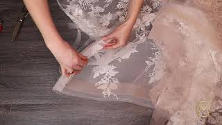 How to make a detachable train for a wedding dress/ Sewing lace long train/ how to sew a train