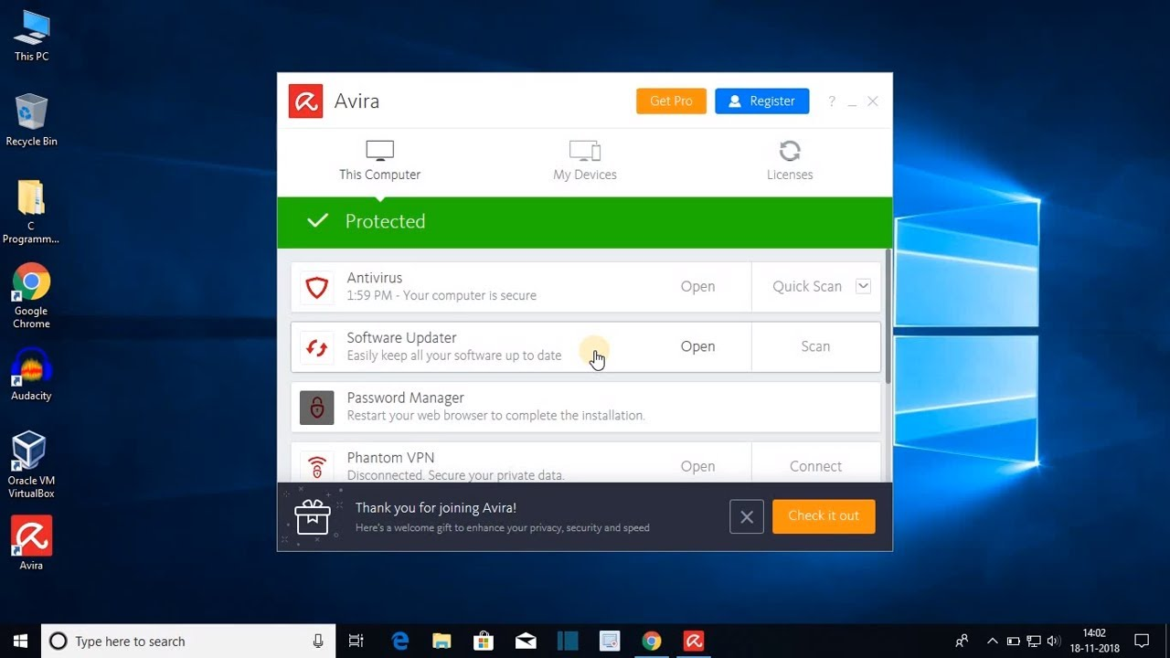 How to Install Avira AntiVirus on Windows 10 With Phantom VPN For Free