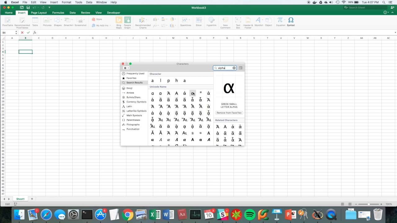 How To Input Greek Symbols On Excel Youtube